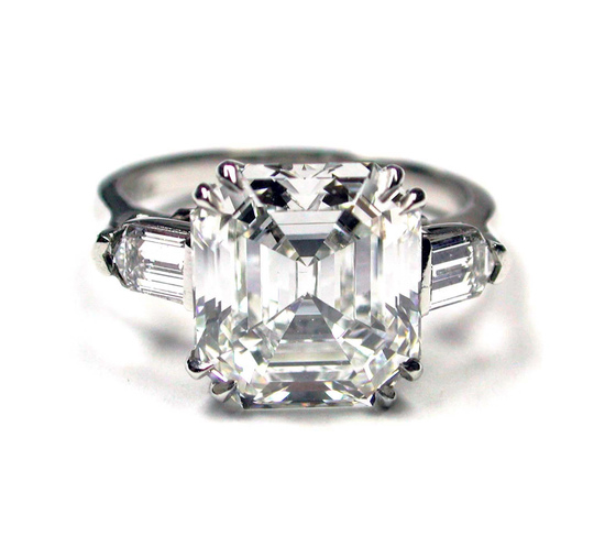 Asscher Cut Deco ring w:Bullets 5.44 AS F-VVS2