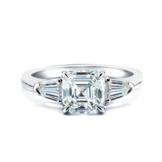 photo of Royal Asscher Engagement Rings with Baguettes