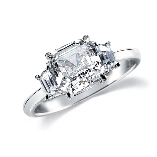 Royal Asscher Engagement Rings with Baguettes