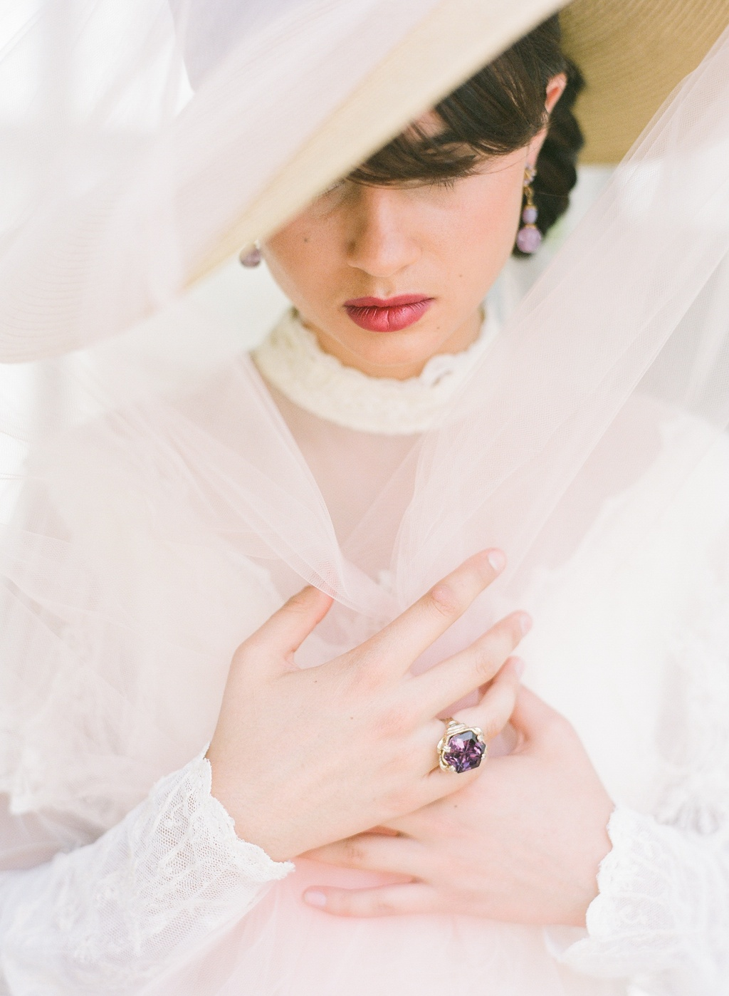 Styled-wedding-beaux-arts-tea-time-monique-lhuillier-santa-barbara-chic-bride-hat-9.full