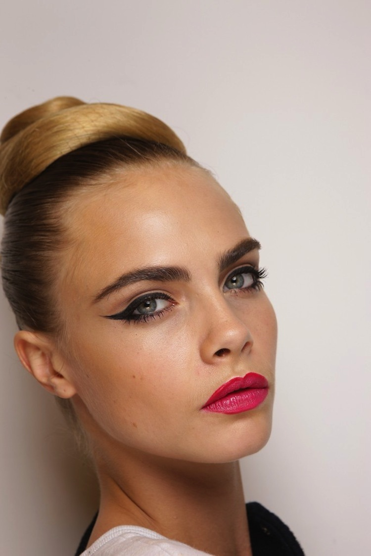 Wedding-hair-makeup-trends-from-fashion-week-vintage-inspired-updo-cat-eyes.full