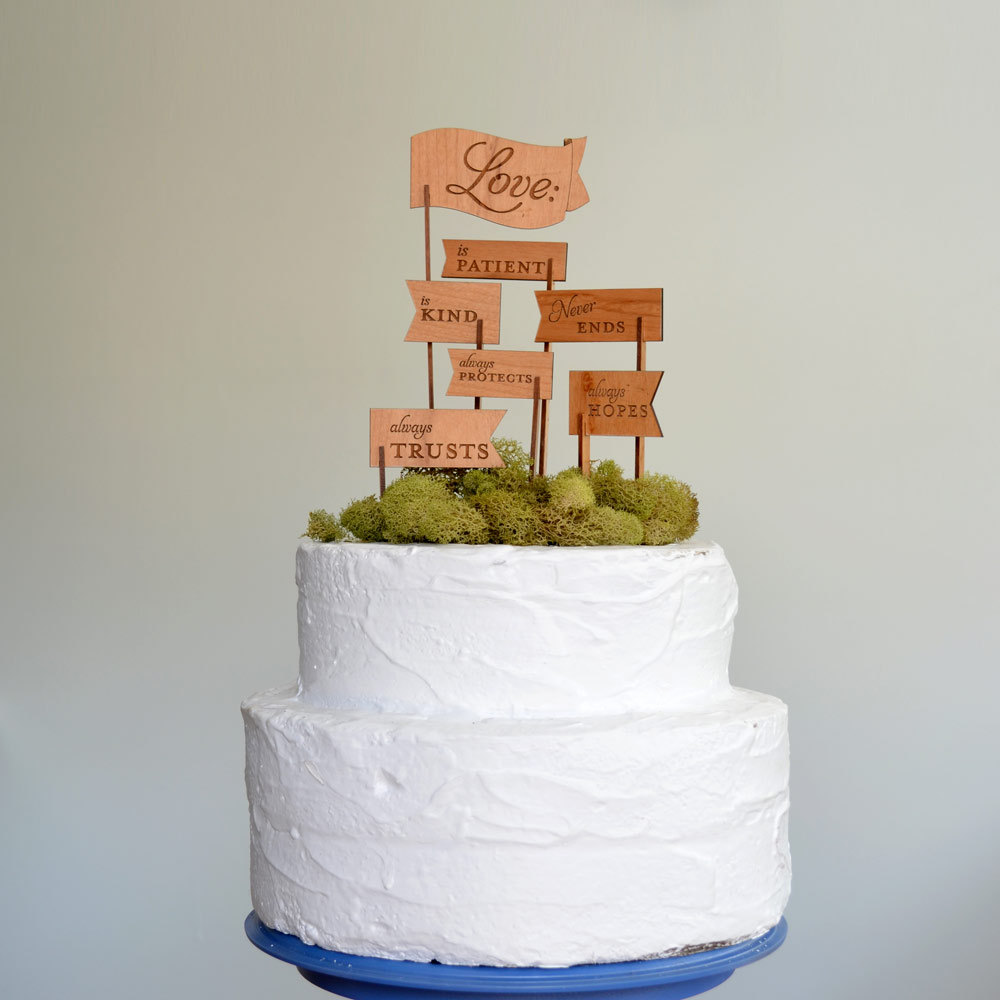creative wedding cake toppers on Etsy Pinterest wood flags  OneWed ...