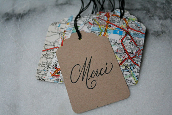 handmade wedding stationery decor using kraft paper Etsy weddings map favor tags
