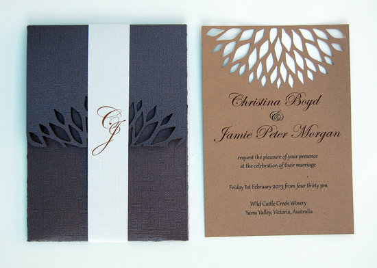 handmade wedding stationery decor using kraft paper Etsy weddings laser cut invites