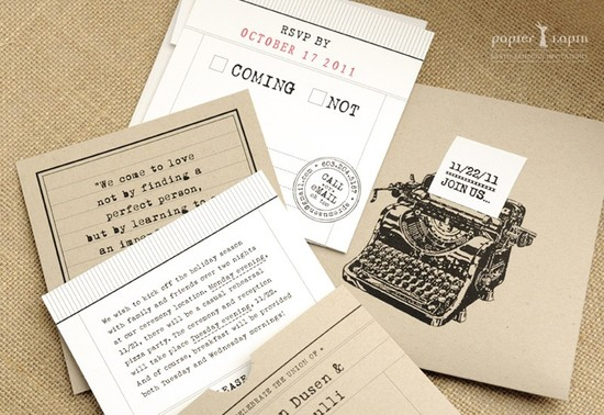 kraft paper wedding invitations vintage typewriter