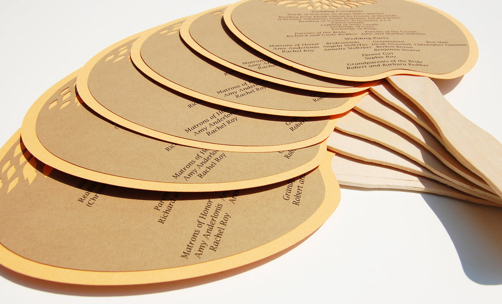 Handmade-wedding-stationery-decor-using-kraft-paper-etsy-weddings-fan-programs.full
