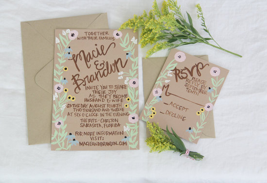 handmade wedding stationery decor using kraft paper Etsy weddings whimsical invitations