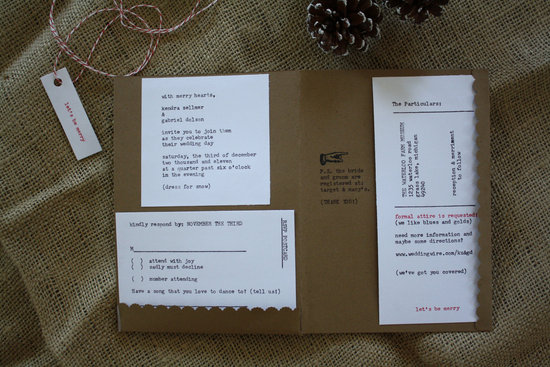 handmade wedding stationery decor using kraft paper Etsy weddings christmas invites 2