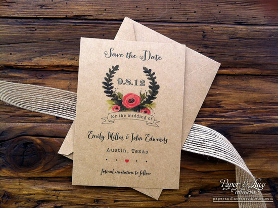 handmade wedding stationery decor using kraft paper Etsy weddings save the date