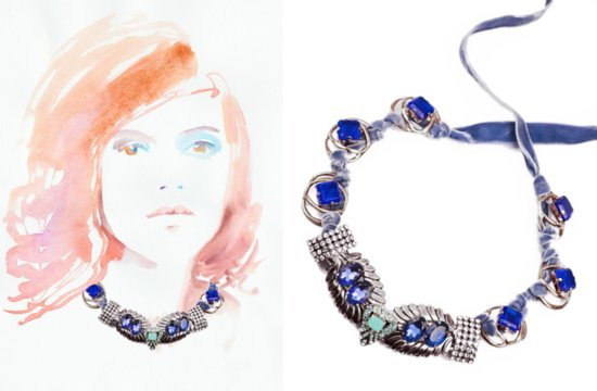 something blue wedding jewelry bridal bling from Lulu Frost statement necklace 2