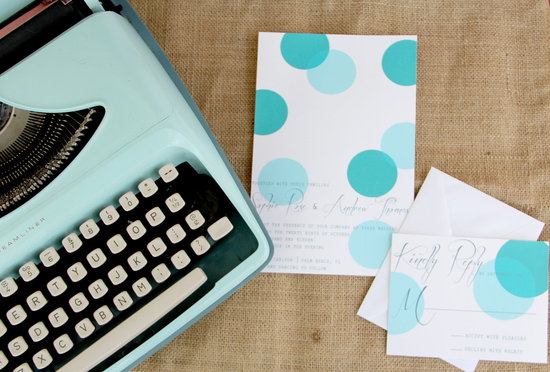 wedding inspiration from Etsy polka dots vintage aqua white invitations