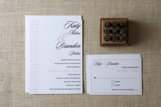 wedding inspiration from Etsy polka dots elegant white black pink invites