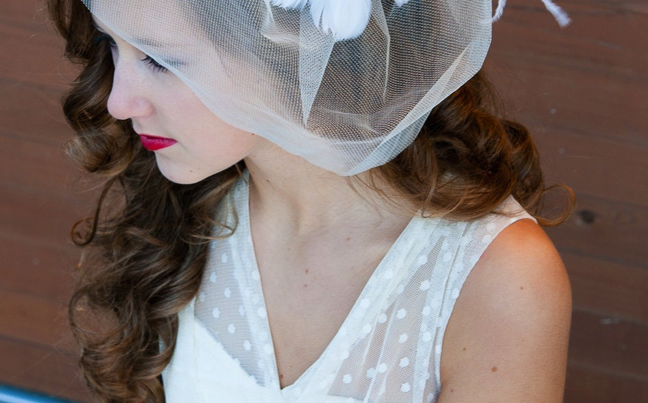 wedding inspiration from Etsy polka dots v neck bridal gown