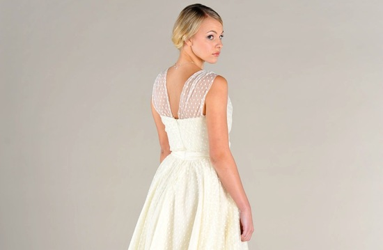 wedding inspiration from Etsy polka dots tea length wedding dress