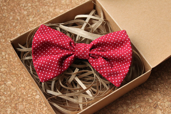 wedding inspiration from Etsy polka dots red white pretied bow tie