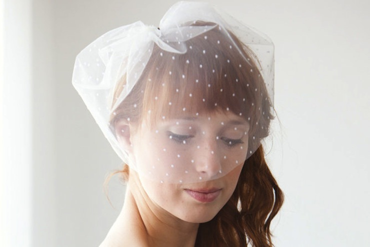 wedding inspiration from Etsy polka dots tulle bridal blusher