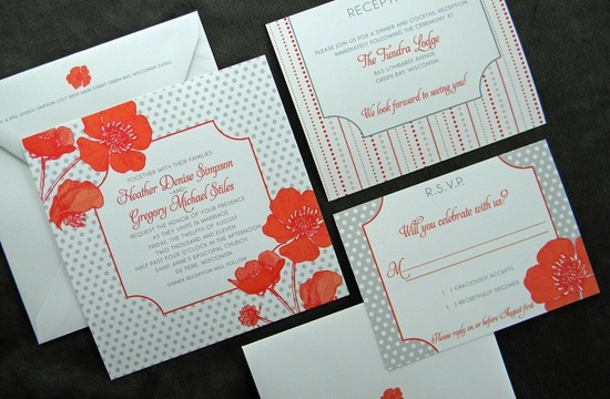 wedding inspiration from Etsy polka dots orange gray poppy invites