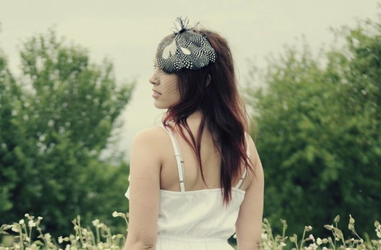 wedding inspiration from Etsy polka dots feather headpiece