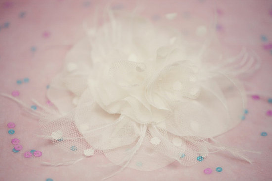 wedding inspiration from Etsy polka dots hair flower