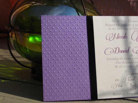 wedding inspiration from Etsy polka dots hand embossed invitation