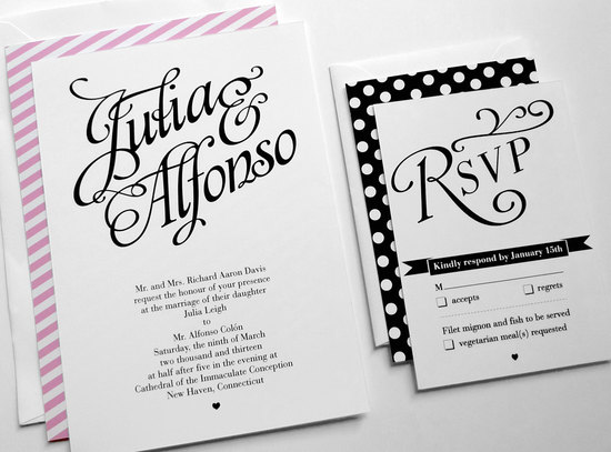 wedding inspiration from Etsy polka dots modern invitations black white pink