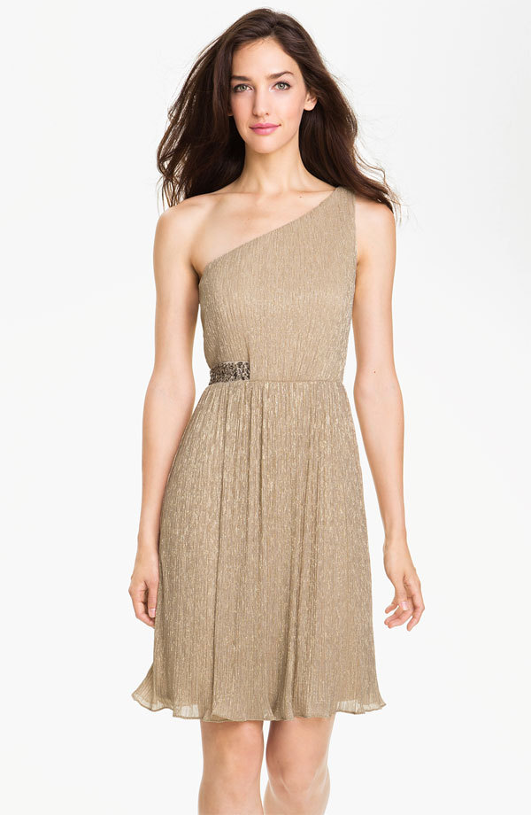 photo of Maggy London One Shoulder Metallic Dress at Nordstrom, $148