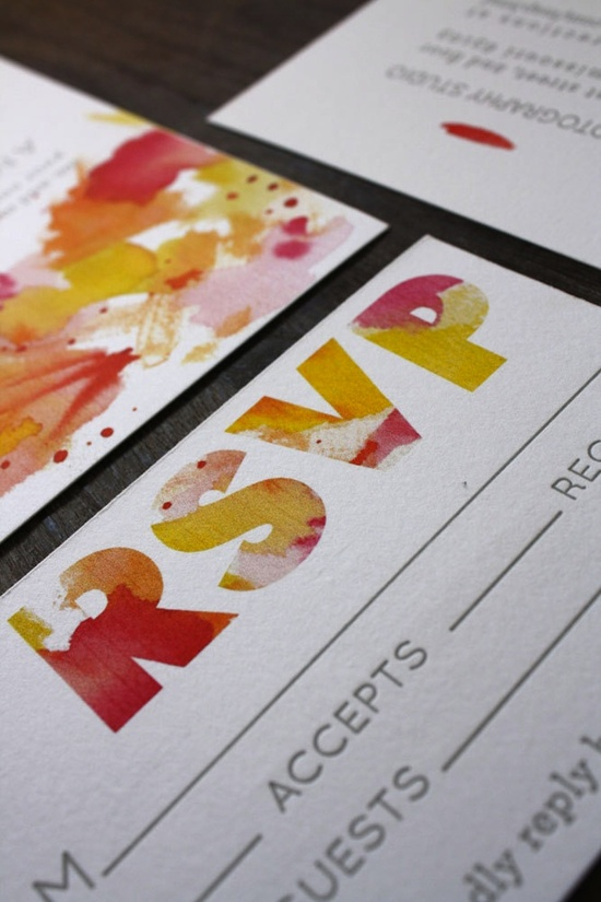watercolor wedding invitations from Etsy letterpress yellow red orange