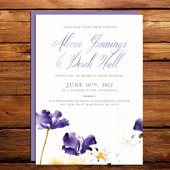 watercolor wedding invitations handmade weddings by Etsy romantic lavender