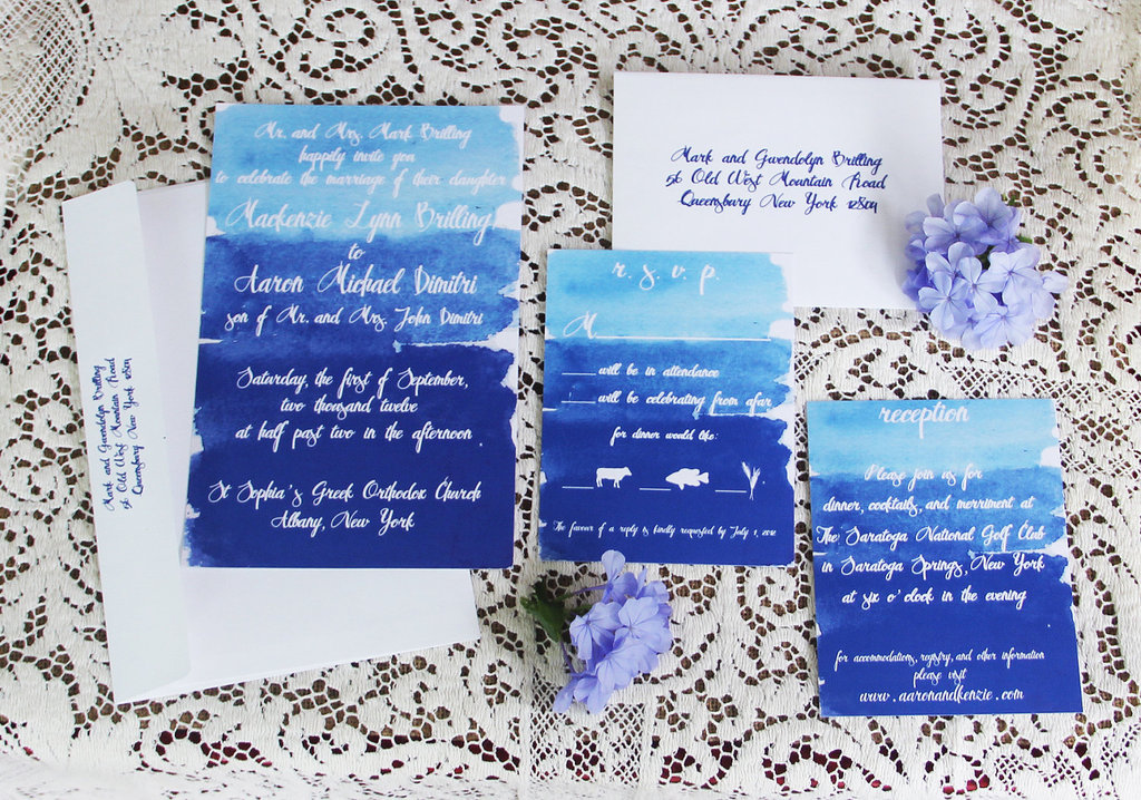 watercolor wedding invitations handmade weddings by Etsy blue ombre
