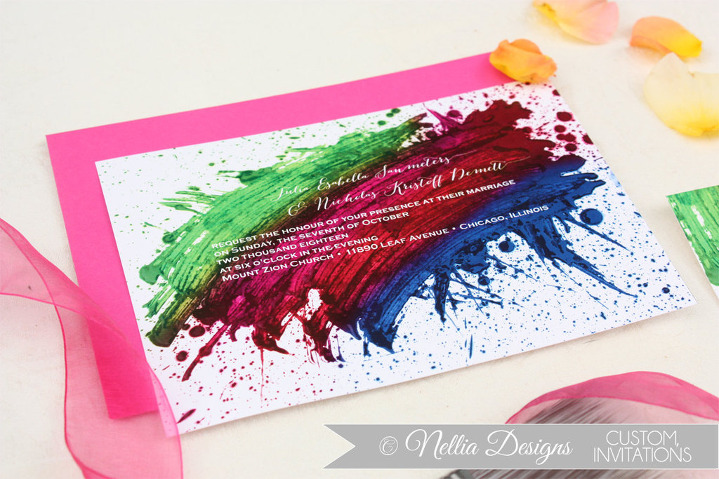 wedding invitations handmade weddings by Etsy bold rainbow
