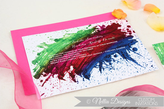 watercolor wedding invitations handmade weddings by Etsy bold rainbow
