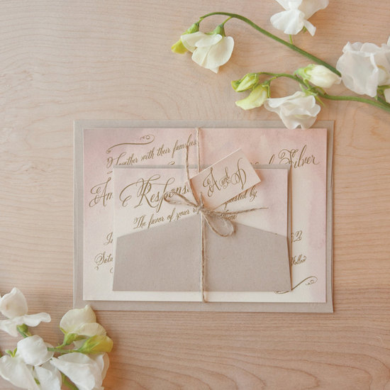 watercolor wedding invitations handmade weddings by Etsy vintage blush taupe