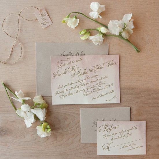 watercolor wedding invitations handmade weddings by Etsy vintage 2