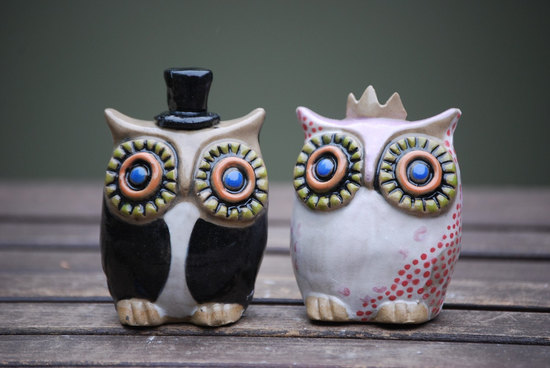 owls for the wedding 2012 reception trends handmade owl custom ceramic cake topper