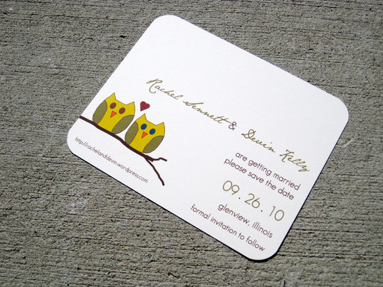 owls for the wedding 2012 reception trends handmade owl save the date