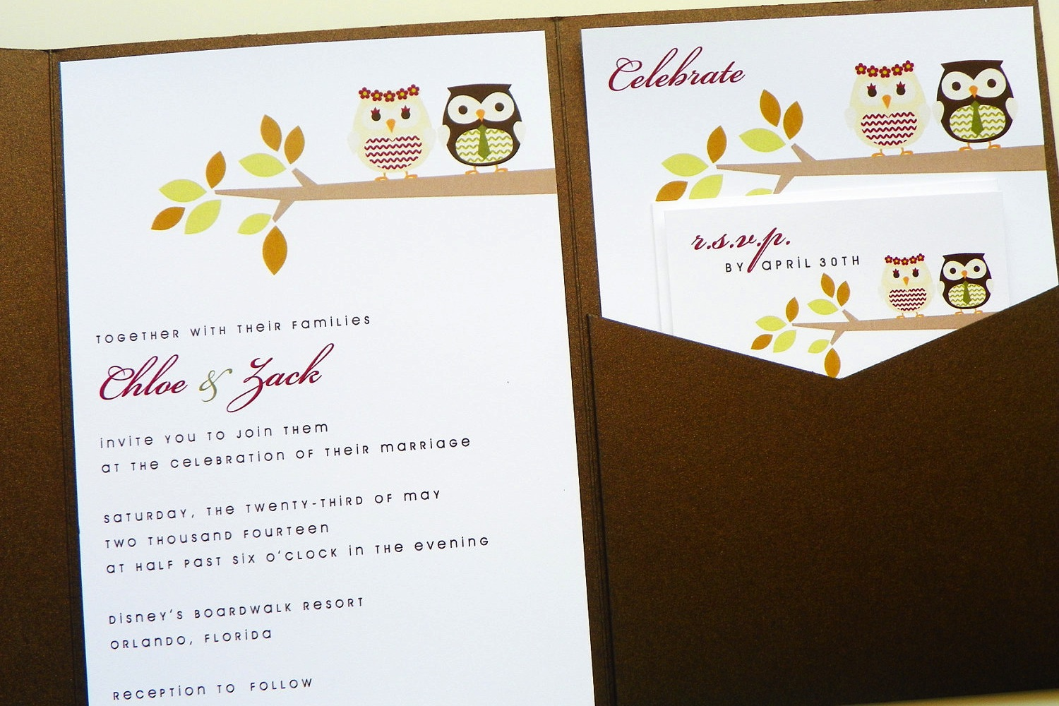 unique owl themed wedding invitations notes owls in a fall oak tree ...