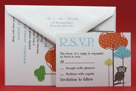 owls for the wedding 2012 reception trends handmade owl handmade invite 2