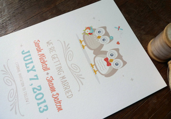 owls for the wedding 2012 reception trends handmade owl whimsical save the date
