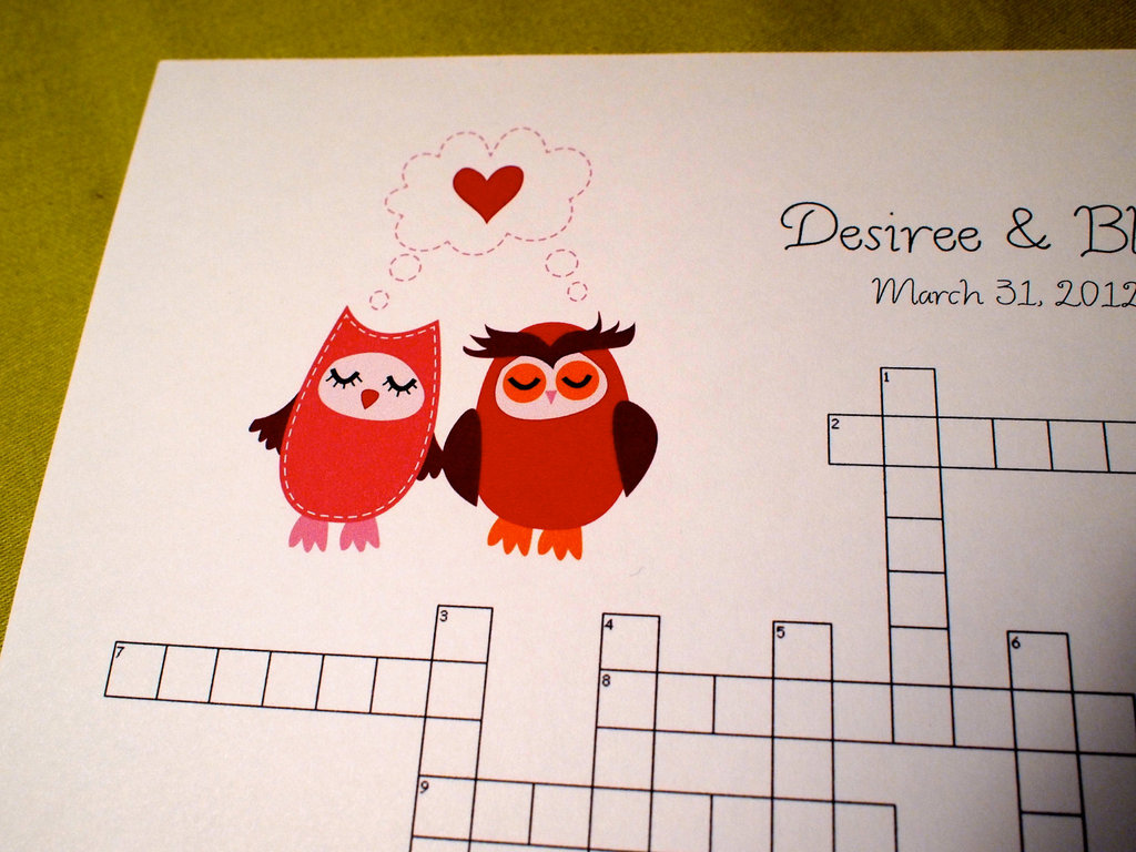 owls for the wedding 2012 reception trends handmade owl crossword