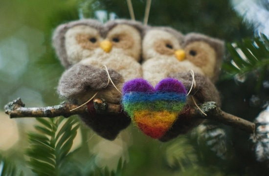 owls for the wedding 2012 reception trends handmade owl LGBT cake topper