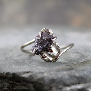 photo of Uncut Rough Diamond Solitaire Engagement Ring 10K White Gold Artisan Jewelery by Etsy seller A Second Time, $625