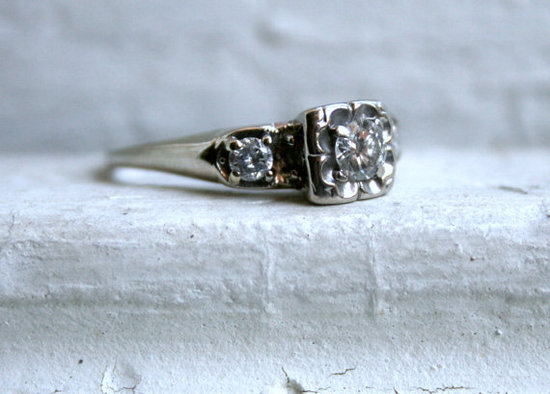 photo of Traditional Vintage 14K White Gold Diamond Three Stone Engagement Ring - 0.64ct. by Etsy seller GoldAdore, $545