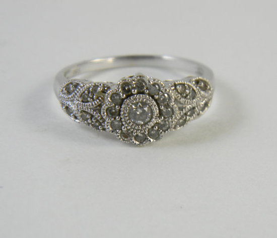 photo of Vintage 14K White Gold Ring with Diamonds by Etsy seller FeliceSereno, $375
