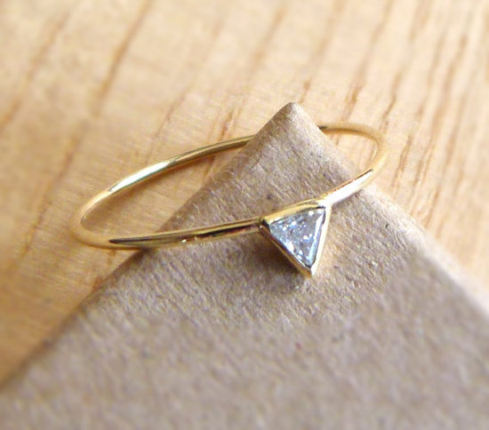 photo of Triangle Diamond Engagement Ring by Etsy seller Artemer, $210