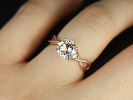 photo of 14kt Rose Gold Round Morganite Twisted Engagement Ring by Etsy seller RosadosBox, $430