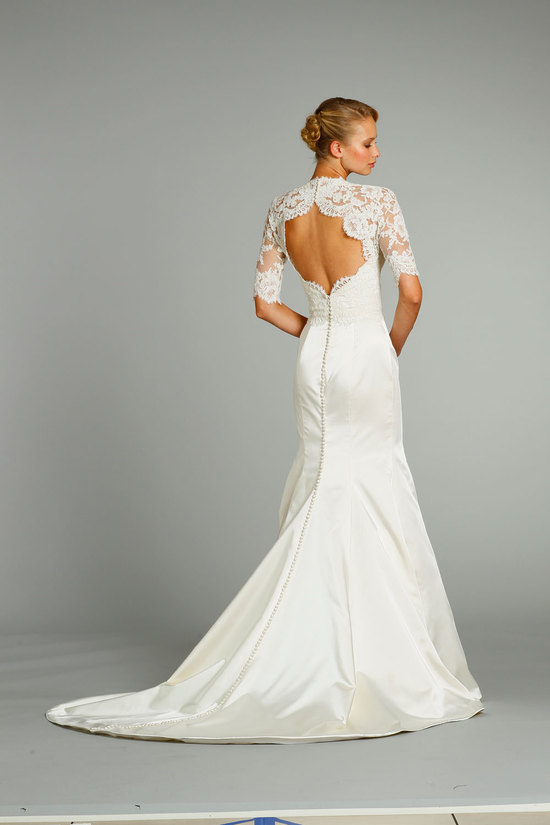 Stunning backless lace wedding dress by Jim Hjelm