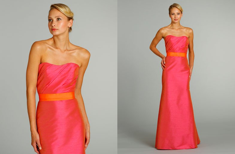 Bridesmaids dresses for stylish bridal parties jim hjelm for Pink and orange wedding dresses