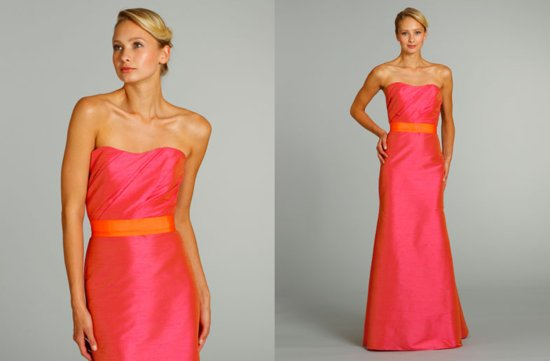 bridesmaids dresses for stylish bridal parties Jim Hjelm from JLM Couture orange pink