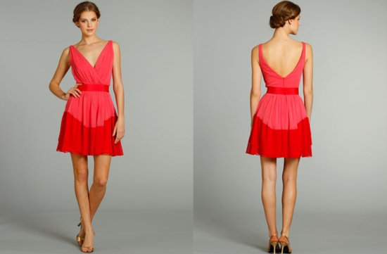 bridesmaids dresses for stylish bridal parties Jim Hjelm from JLM Couture bright coral