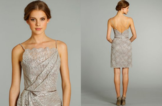 bridesmaids dresses for stylish bridal parties Alvina Valenta from JLM Couture beige lace